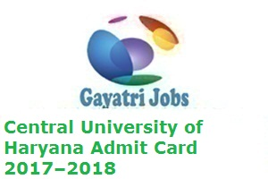 Central University of Haryana Admit Card