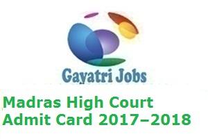 Madras High Court Admit Card