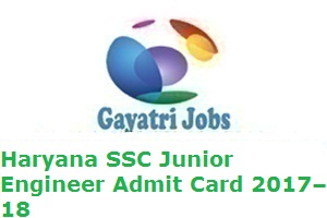 Haryana SSC Junior Engineer Admit Card