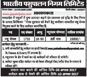Bhartiya Pashupalan Vibhag Recruitment