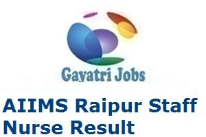 AIIMS Raipur Staff Nurse Result