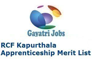 RCF Kapurthala Apprenticeship Merit List