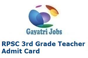 RPSC 3rd Grade Teacher Admit Card