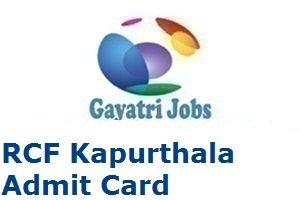 RCF Kapurthala Admit Card