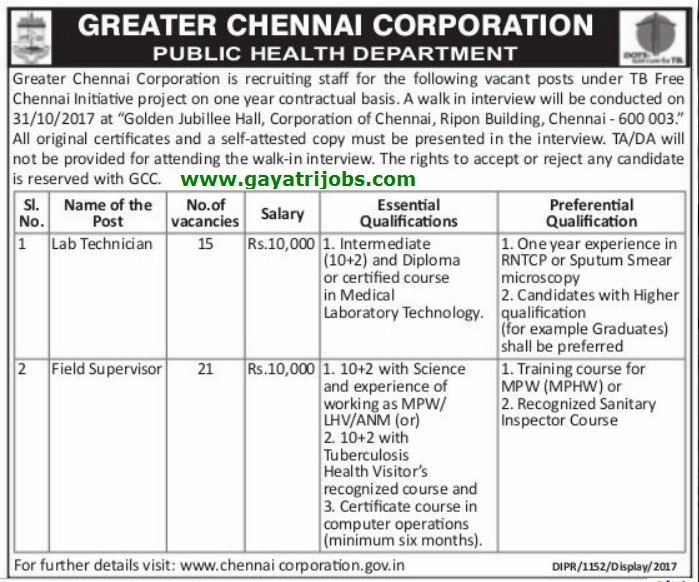 Greater Chennai Corporation Recruitment 2017–18 Through Interview