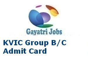 KVIC Group B/C Admit Card