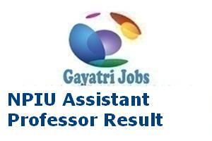 NPIU Assistant Professor Result