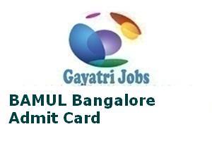 BAMUL Bangalore Admit Card