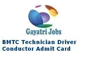 BMTC Technician Driver Conductor Admit Card
