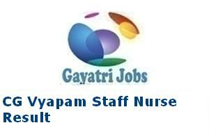 CG Vyapam Staff Nurse Result