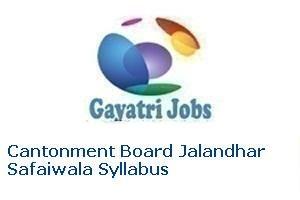 Cantonment Board Jalandhar Safaiwala Syllabus