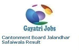 Cantonment Board Jalandhar Safaiwala Result