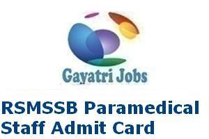 RSMSSB Paramedical Staff Admit Card