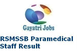 RSMSSB Paramedical Staff Result