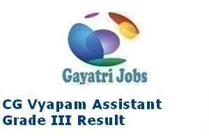 CG Vyapam Assistant Grade III Result