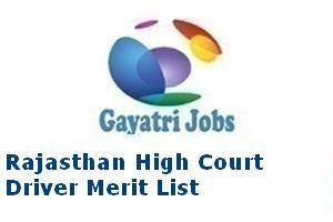 Rajasthan High Court Driver Merit List
