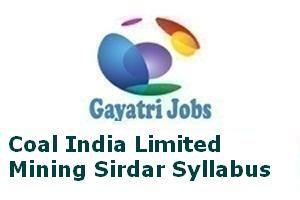 Coal India Limited Mining Sirdar Syllabus