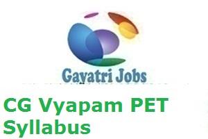 CG Vyapam PET Syllabus 2019 PDF Exam Pattern of Pre Engg Test