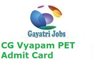 CG Vyapam PET Admit Card