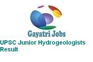 UPSC Junior Hydrogeologists Result