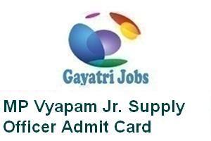 MP Vyapam Jr. Supply Officer Admit Card