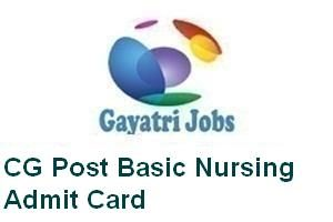 CG Post Basic Nursing Admit Card