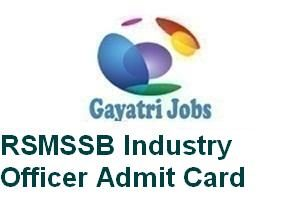 RSMSSB Industry Officer Admit Card