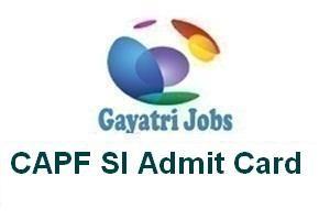 CAPF SI Admit Card