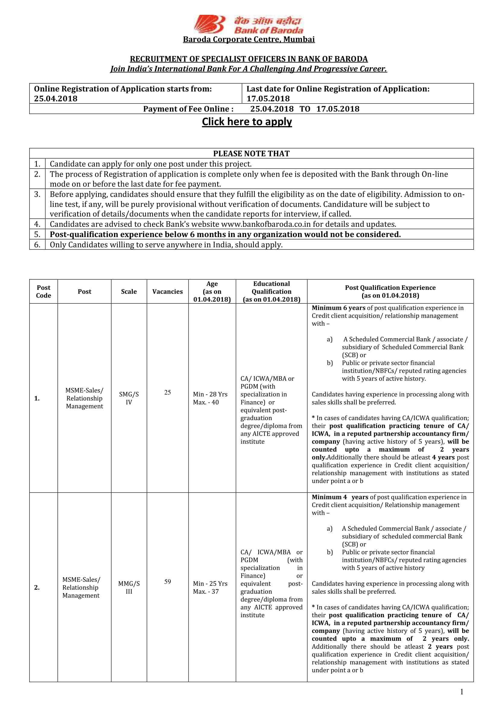 bank of baroda job application form 2015