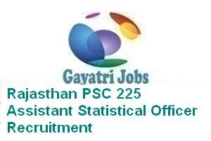 Rajasthan PSC 225 Assistant Statistical Officer Recruitment