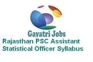 Rajasthan PSC Assistant Statistical Officer Syllabus