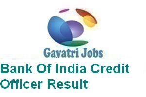 Bank Of India Credit Officer Result