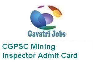CGPSC Mining Inspector Admit Card