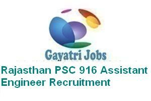 Rajasthan PSC 916 Assistant Engineer Recruitment