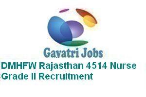 DMHFW Rajasthan 4514 Nurse Grade II Recruitment