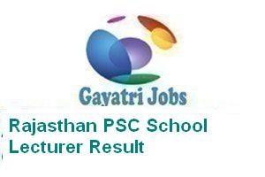 Rajasthan PSC School Lecturer Result