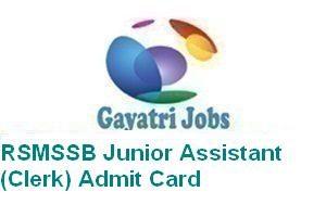 RSMSSB Junior Assistant (Clerk) Admit Card