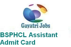 BSPHCL Assistant Admit Card