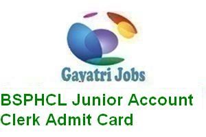 BSPHCL Junior Account Clerk Admit Card