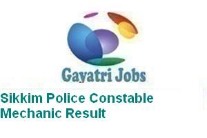 Sikkim Police Constable Mechanic Result