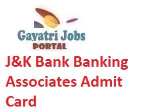 J&K Bank Banking Associates Admit Card
