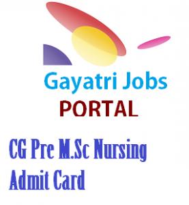CG Pre M.Sc Nursing Admit Card