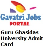 Guru Ghasidas University Admit Card Students who want to take admission in Under Graduate and Post Graduate Courses under Guru Ghasidas University and ready to attend the Admission Exam they can get the Guru Ghasidas University Admit Card 2019 Online via the official website of the department by simple entering the registration number.  Significant Note: At the time of the Admission Test , all the applied students bring the Guru Ghasidas University Admit Card 2019 otherwise examiner will not allow to enter in the examination hall .  Focus Point:  No scientific calculator is allowed in the examination hall, no cell phones are allowable in the examination hall, and no cheat material is tolerable in the examination center. Therefore we recommended to every applied candidates don't waste your time and start preparation to clear the recruitment exam without any tension of Ghasidas University Admit Card