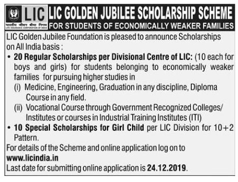 LIC Scholarship Online Application Form